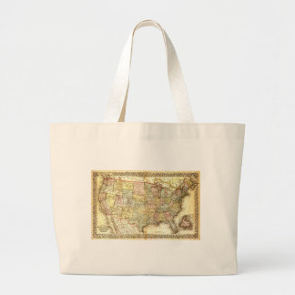 Vintage Old United States USA General Map Large Tote Bag