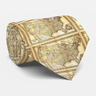 Vintage Old United States USA General Map Neck Tie