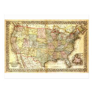 Vintage Old United States USA General Map Postcard