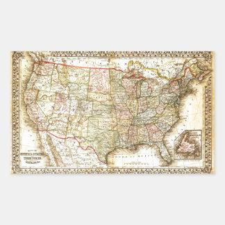 Vintage Old United States USA General Map Rectangular Sticker