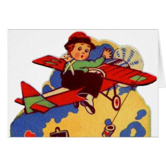 Vintage Old Valentine Card Bum Voyage Airplane