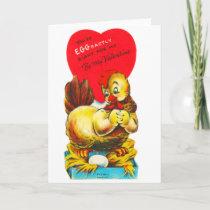 Vintage Old Valentine Chicken Hen Holiday Card