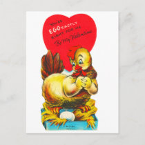 Vintage Old Valentine Chicken Hen Holiday Postcard