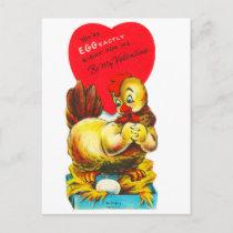 Vintage Old Valentine Chicken Hen Holiday Postcard