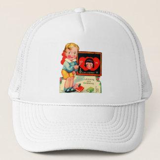 Vintage Old Valentine Little Boy Learning Trucker Hat