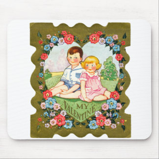 Vintage Old Valentine Little Girl and Little Boy Mouse Pad
