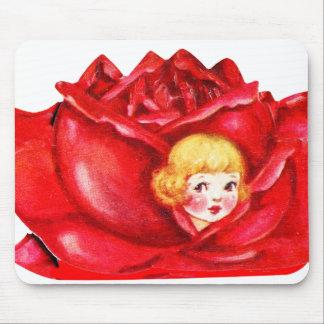 Vintage Old Valentine Little Girl in a Rose Mouse Pad