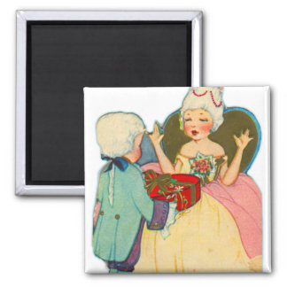Vintage Old Valentine Little Girl Queen and Prince Magnet