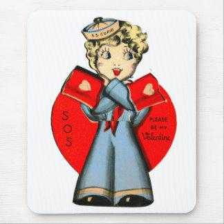 Vintage Old Valentine Little Girl SOS Sailor Mouse Pad