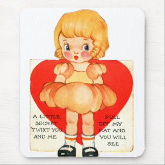 Vintage Old Valentine Little Girl Twixt You and Me Mouse Pad