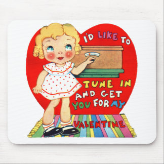 Vintage Old Valentine Little Girl with Radio Mouse Pad
