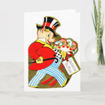 Vintage Old Valentine Rich Pig Holiday Card