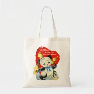 Vintage Old Valentine Valentine's Card Panda Tote Bag