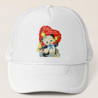 Vintage Old Valentine Valentine's Card Panda Trucker Hat