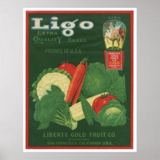 Vintage Old Vegetables Crate Labels Posters