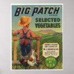 Vintage Old Vegetables Fruit Crate Labels Poster