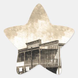 Vintage Old West Building Star Sticker