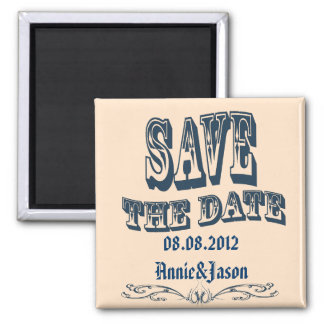 vintage old west country wedding save the date magnet