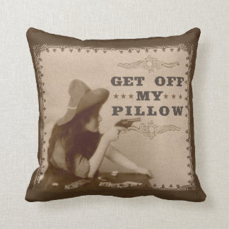 Vintage Old West Girl with Gun Get Off Funny Throw Pillow