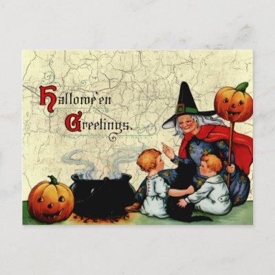 Vintage Old Witch Postcard