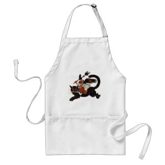 Vintage Old Witch Riding a Black Cat Apron