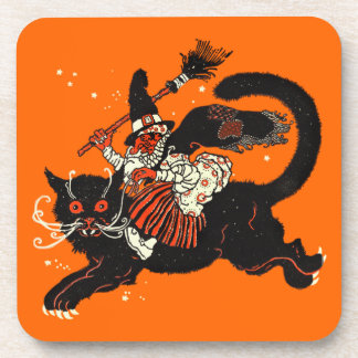 Vintage Old Witch Riding a Black Cat Drink Coaster