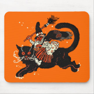 Vintage Old Witch Riding a Black Cat Mouse Pad