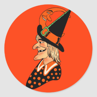 Vintage Old Witch with a Moon Classic Round Sticker