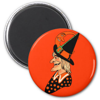Vintage Old Witch with a Moon Fridge Magnet