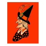 Vintage Old Witch with a Moon Postcard