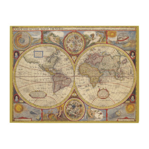 Vintage Old World Maps Wood Wall Art Zazzle