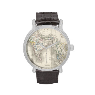 Vintage old world antique India Indian map hipster Wristwatches