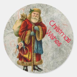 Vintage Old World Christmas Santa Classic Round Sticker