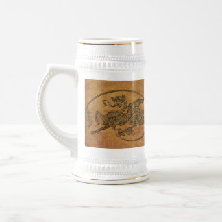 Vintage Old World Dragon on Parchment effect Beer Stein