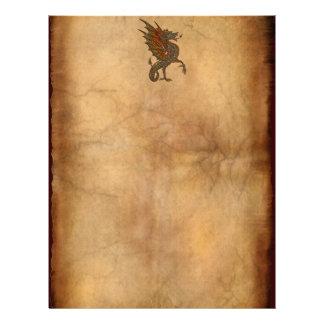 Vintage Old World Dragon on Parchment effect Letterhead