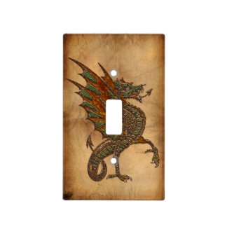 Vintage Old World Dragon on Parchment effect Light Switch Covers