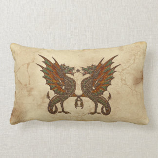 Vintage Old World Dragon on Parchment effect Throw Pillow