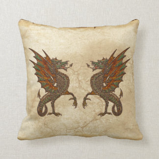 Vintage Old World Dragon on Parchment effect Throw Pillows