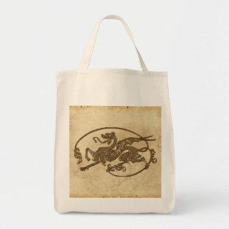 Vintage Old World Dragon on Parchment effect Tote Bag
