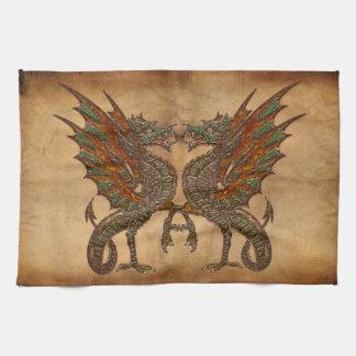 Vintage Old World Dragon on Parchment effect Towel