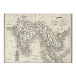 Vintage old world India Indian map print cool