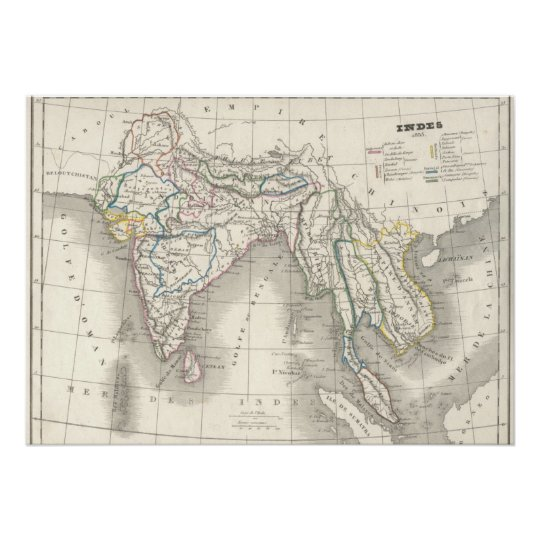 Vintage old world india indian map print cool zazzle vintage old world india indian map print cool gumiabroncs