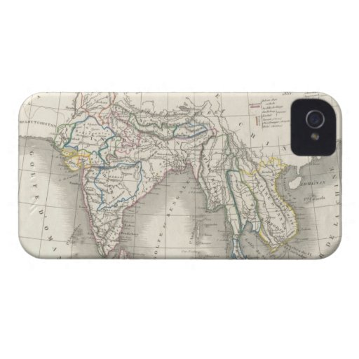 Vintage old world India Indian map print iPhone 4 iPhone 4 Case-Mate Case