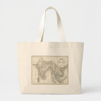 Vintage old world India map print Canvas Bags