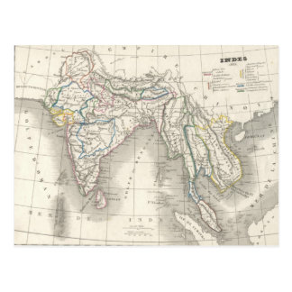 Vintage old world India map print postcard