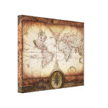 Vintage Old World Map and Compass Rose Canvas Prints