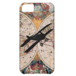 Vintage Old World Map Biplane Aviator Pilot Case iPhone 5C Cover
