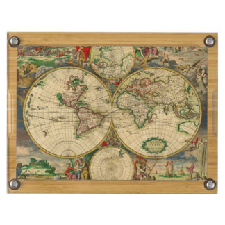 Vintage old world Map Cheese Board
