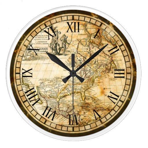 Vintage Old World Map Clock