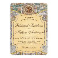 Vintage Old World Map Compass Wedding Invitation